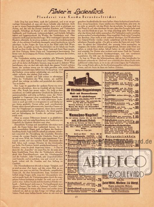 Artikel:Bernsöe-Stricker, Kascha, Hinter'm Ladentisch, Plauderei von Kascha Bernsöe-Stricker.Werbung:Josef Witt, Weiden 114 Oberpfalz.