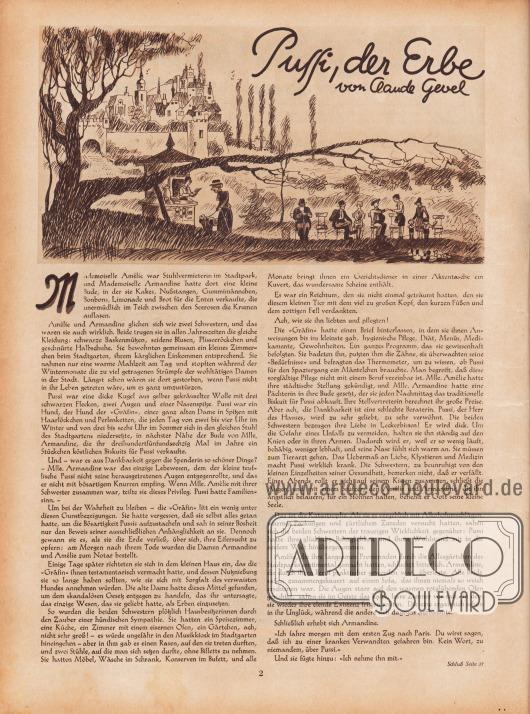 Artikel: Gevel, Claude, Pussi, der Erbe (von Claude Gevel, 1886-1968).  Die Illustration oben zeigt eine Landschaft. Im linken Hintergrund befindet sich eine burgenartige Ansammlung von Häusern. Im Vordergrund befinden sich ein Baum, ein Verkaufsstand und sitzende Menschen. Illustration/Zeichnung: unsigniert (wahrscheinlich Hans Ewald Kossatz (1901-1985).