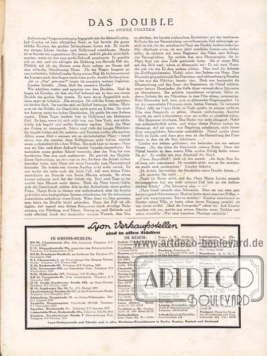 Artikel:Poltzer, André, Das Double.Verlagsinformation:Auflistung aller Lyon Verkaufsstellen im Deutschen Reich und in Groß-Berlin.