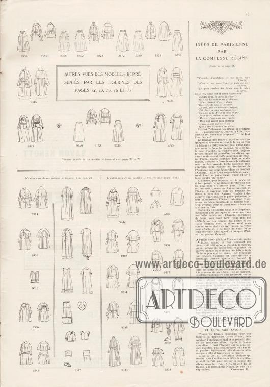 Artikel: Comtesse Régine, Idées de parisienne par la comtesse régine. Auf dieser Seite befinden sich die Vorder- sowie die Rückansichten der Modelle der Seiten 72-73 und 75-77.