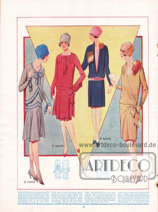 4206: Kleid aus schiefergrauer Seide mit hübschem Boleroeffekt und blauem Biesenaufputz. Der Rock ist rund geschnitten und leicht gereiht. Am Ausschnitt Schleifenverzierung. 4207: Kleid aus rosenrotem Marocainkrepp mit glockig ausfallender Tunika, die den engen Rock nur wenig sehen lässt. Plisseeteile an Ärmel und gebundener Blende. 4208: Nachmittagskleid aus grauem Veloutine mit altrosa Seidenaufputz. Aus gleichem Material bestehen der Einsatz und Gürtel mit Schnallenschluss. Seitlich Falten. 4209: Apartes Kleid aus gelber Seide mit schräger Blendenanordnung in Weiß. Linksseitlich flott gebundener Schärpengürtel. Das Kleid wird durch eine abstehende Ansteckblüte belebt.
