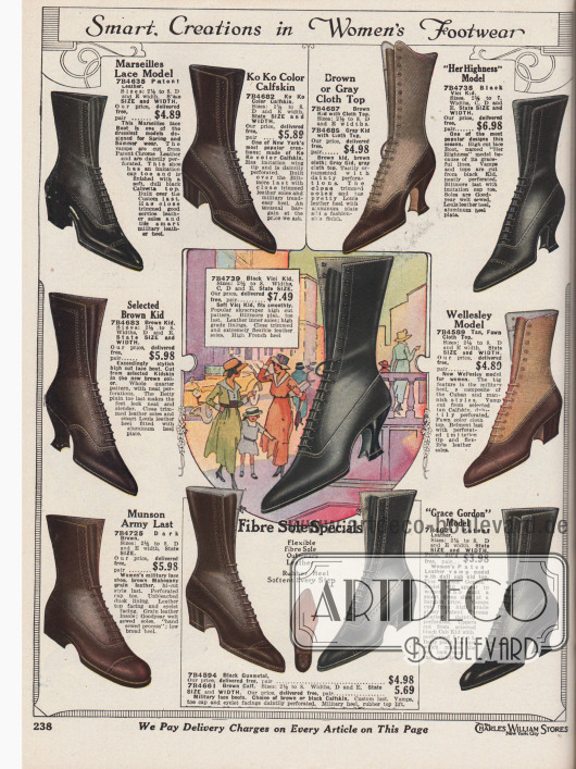 """""""Elegante Schuhmodelle für Damen"""" (engl. """"Smart Creations in Women's Footwear""""). Hochgeschlossene Schnürstiefel aus Lackleder, Rindsleder, Chevreaulder (Ziegenleder) oder """"Vici""""-Chevreauleder für Frauen. Teilweise sind die Stiefel im zweifarbigen Design und aus zweierlei Material. Die Oberteile sind dabei aus hellerem, angerauten Leder oder hellem Stoff. Geschwungene, mittelhohe Louis XIV Absätze oder niedrigere, dicke militärische Absätze sind an den Modellen zu finden. Nähte, Lochlinienverzierungen (Perforationen) und ausschließlich spitze Kappen sind die modischen Akzente."""