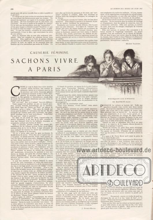 Artikel (causerie féminine):Duriez-Maury, J., Sachons vivre à Paris&#x3B;O. V., Pourquoi les enfants se battent-ils?