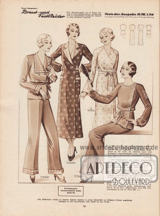 5281: Pyjama aus blauem Popeline. Kragen, Ärmel- und Beinkleidaufschläge sind mit rot-weiß gestreiften Blenden abgesetzt. Doppelreihiger Knopfschluß an der Jacke, die außerdem durch einen Bindegürtel zusammengehalten wird. 5282: Kleiderschürze aus grünem, gelbgetupftem Kattun. Für Reverskragen, Bündchen, Taschenpatten und Gürtel ist hellgelber Stoff verwendet. 5283: Hübscher Morgenrock aus zartfarbiger geblümter Seide, mit doppelreihigem Knopfschluß versehen. Der weite Ärmel ist in Raglanform geschnitten. 5284: Pyjama aus rotem Batist. Gelbe Bulgarenstickerei ziert die mit Druckknopfschluß versehene Bluse und die Beinlinge. Der bauschige Ärmel ist in ein enges Bündchen gefaßt.