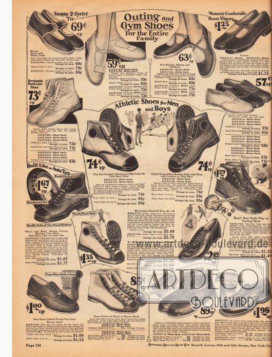 Sportschuhe aus atmungsaktivem Kanevas und Gummi für alle Familienmitglieder. Gerade die Schuhe in der Mitte ähneln sehr den bereits seit 1917 hergestellten Converse All Star Sportschuhen der gleichnamigen Firma. Recht weit unten mittig befinden sich auch Baseball Schuhe aus Kalbsleder mit Eisenspikes unter den Sohlen für Jungen.