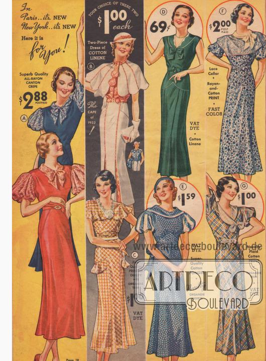 Kleider für die Frühjahr/Sommersaison 1933 mit gepufften Ärmeln und Capes in fröhlichen Farben.