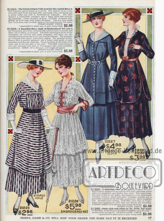 Elegante Damenkleider. Mehrere Röcke mit Volants.