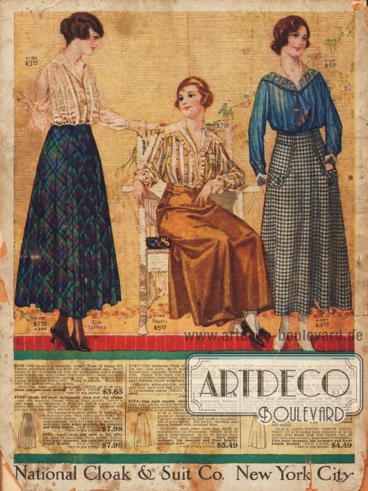Blusen mit Spitze, Rüschen oder mit krawattenartiger Drapierung. Die passenden Röcke bestehen aus Seiden-Taft, Popeline und Baumwolle. Der Rock links ist plissiert, während der Sportrock rechts große Taschen und Knopfzierleiste aufweist.