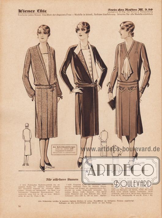 """""""Für stärkere Damen"""". 4214: Praktisches Nachmittagskleid aus genopptem Kasha, für stärkere Damen geeignet. Den Ausschnitt begrenzt ein schlanker Schalkragen. Einsatz aus Spitzenstoff. Am Rock vorn Faltenpartie. Eingesetzte Bündchenärmel. 4215: Elegantes Kleid aus schwarzem Charmelaine, kleidsame Form für stärkere Damen. Für Einsatz und Kragen mit angeschnittenem Garniturteil ist weißer Crêpe-Satin verwendet. Am rechten Revers weiße Stickerei. Den Gürtel stattet Stepperei und eine Schnalle aus. 4216: Besuchskleid aus rötlichbraunem Seiden-Marocain, für stärkere Damen geeignet. An der Hüftpasse und den Ärmeln gleichfarbige Seidenstickerei. Die Ausschnittblende greift über das Jabot aus Georgette und Spitze. Über den engen Rock fallen seitlich zipfelige Tunikateile."""