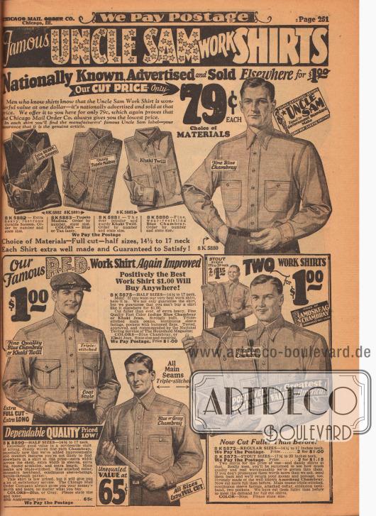 """Widerstandsfähige Arbeitshemden der der noch heute existierenden Marke Uncle Sam aus Satin, """"Tupelo Madras"""" (leichtes, strapazierfähiges Baumwollgewebe), Khaki Gewebe, Chambray (Baumwollgewebe oder Leinen), indigoblauem Khaki-Jeansstoff und Amoskeag Chambray (hergestellt von der Amoskeag Manufacturing Co. in Manchester, New Hampshire, USA). Die Arbeitshemden sind nahtverstärkt und besitzen große Brusttaschen."""