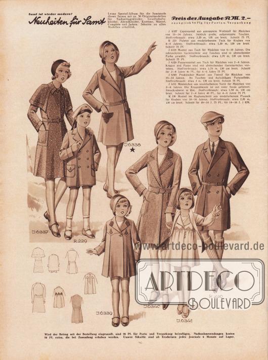 J 6337: Capemantel aus genopptem Wollstoff für Mädchen von 10 bis 14 Jahren. Seitlich große, aufgesteppte Taschen. Stoffverbrauch: etwa 3,20 m, 130 cm breit. Schnitt 75 Pf. R 229: Paletot aus modefarbenem Tuch für Knaben von 4 bis 8 Jahren. Stoffverbrauch: etwa 1,30 m, 130 cm breit. Schnitt 75 Pf. J 6338: Mantel aus Tuch für Mädchen von 6 bis 10 Jahren. Die inkrustierten Garniturteile und Taschen sind in abstechender Farbe gewählt. Stoffverbrauch: etwa 1,70 m, 130 cm breit. Schnitt 75 Pf. J 6339: Passenmantel aus Tuch für Mädchen von 2 bis 6 Jahren. Kragen und Passe sind mit abstechenden Garniturteilen versehen. Stoffverbrauch: etwa 1,70 m, 130 cm breit. Schnitt für 2 bis 4 Jahre 40 Pf., für 4 bis 6 Jahre 75 Pf. J 6340: Praktischer Mantel aus Tweed für Mädchen von 10 bis 14 Jahren. An Taschen und Aufschlägen Patteneffekt. Stoffverbrauch: etwa 3 m, 130 cm breit. Schnitt 75 Pf. J 6341: Mäntelchen aus modefarbenem Natté für Mädchen von 2 bis 6 Jahren. Die Kragenblende ist mit roter Seide gefüttert. Smocknäherei in Rot. Stoffverbrauch: etwa 1,50 m, 130 cm breit. Schnitt für 2 bis 4 Jahre 40 Pf., für 4 bis 6 Jahre 75 Pf. R 230: Mantel im Raglanschnitt aus modefarbenem Flausch für Knaben von 10 bis 16 Jahren. Stoffverbrauch: etwa 2,20 m, 130 cm breit. Schnitt für 10 bis 14 J. 75 Pf., für 14 bis 16 J. 1 RM. [Seite] 28