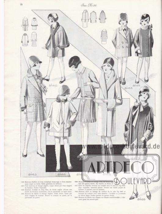 8462: Manteau d'enfant en drap compliqué d'une cape et d'un empiècement coupé en forme. Riche garniture de kolinsky. 8463: Petit manteau en lainage anglais, noppé, fermé par deux rangées de boutons. Poches originales. 8464: Manteau d'enfant en drap bleu, de forme raglan. Devant une bande en broderie multicolore. Col et parements en lapin blanc. 8465: Manteau de fillette en lainage anglais, forme droite, fermé par deux rangées de boutons. Revers et ceinture en pareil, col et parements en putois. 8466: Manteau d'enfant en lainage clair, de forme vague. Comme garniture des galons étroits, des bandes en forme et du vison. 8467: Robe en crêpella, formant un complet avec le manteau fig. 8468. Jupe rapportée, finement plissée. Devant une bande piquée de boutons et passant sous la ceinture. 8468: Manteau droit en lainage de couleur de la robe fig. 8467 et formant un complet avec cette dernière. Col-châle et parements en toison claire. Poches garnies de galons étroits. 8469: Manteau de fillette très élégant en velours « vert-bouteille », richement garni de caracul gris.