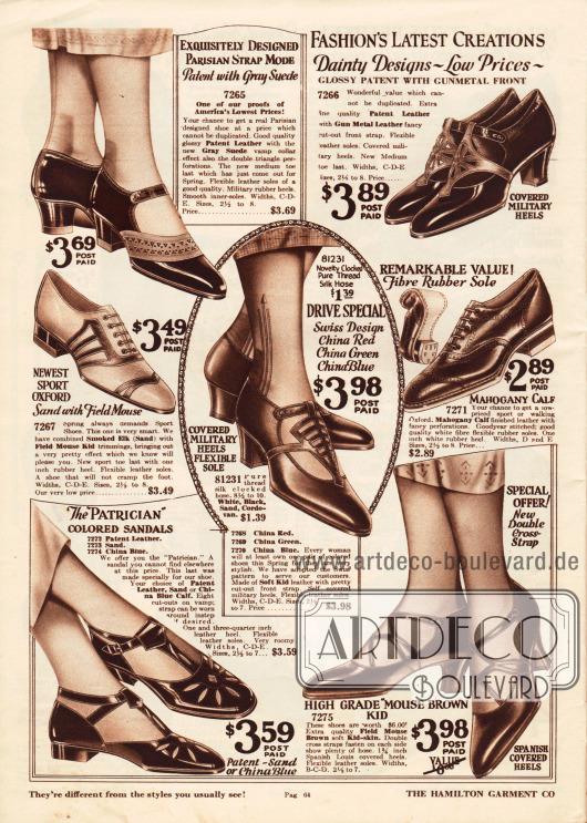 """Schnallenschuhe, Sandalen und sportliche Oxfords aus Lackleder, Wapitileder (engl. """"elk""""), Chevreauleder (Ziegenleder) oder Rindsleder.Drei Modelle sind mit zwei verschiedenen Ledersorten kombiniert. Viele Paare zeigen Ausstanzungen oder leichte Perforationen. Niedrige Gummiabsätze, etwas höhere Militärabsätze (engl. """"military heel"""") oder leicht geschwungene Spanische Absätze sind hier zu finden."""