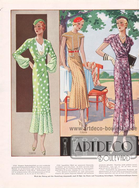 7212: Elegantes Nachmittagskleid, aus zwei verschieden gemusterten Seidenstoffen kombiniert. Das dicht gemusterte Material ist an Glockenrock und Ärmeln bordürenartig verarbeitet. Kleidsame weiße Weste. 7213: Jugendliches Kleid aus gemusterter Kunstseide, in einfacher sportlicher Form. An Taille und Rock Hohlnahtgarnierung, die in Weiß ausgeführt ist. 7214: Elegantes Sommerkleid aus apart gemustertem Flamisol. Die graziös drapierten Schalteile sind im Rücken gürtelartig gebunden. Neuartige, leicht gefaltete Ärmel.