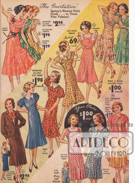Kleider für verschiedene Anlässe für Mädchen von 7 bis 16 Jahren.