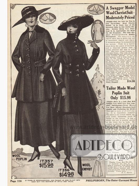 Zwei Kostüme für Damen aus Woll-Popelin und Woll-Cheviot. Augenfällig bei beiden Modellen sind die nicht vollständig durchgeführten Gürtel bei den Jacken, die zugleich ungewöhnlich ausgeführt sind. Zierknöpfe, Ziernähte und Tressen sorgen für die besondere Note.