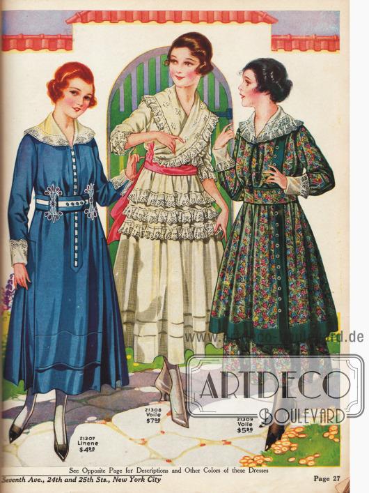 Kleider für junge Damen. Das rechte Kleid ist aus kunstvoll, floral-gemustertem Voilestoff.