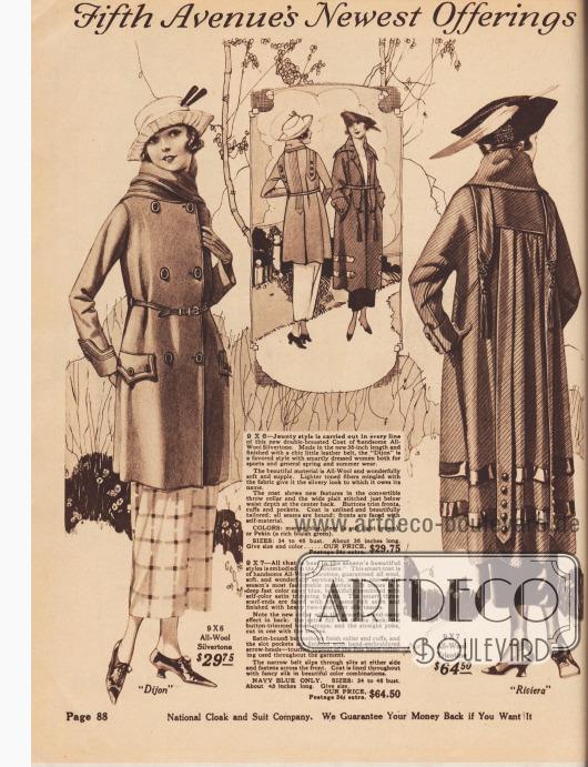 """""""Die neuesten Vorschläge der Fifth Avenue"""" (engl. """"Fifth Avenue's Newest Offerings""""). 9X6: Modell """"Dijon"""" für 29,75 Dollar. Sportlicher, doppelreihiger Kurzmantel aus Woll-Silvertone (weich genopptes Wollgewebe mit eingewebten Silberfäden) mit einem konvertierbaren Kragen und langen Überwurf-Schalenden. Stepperei ziert Kragen, Schalenden und Rückenpartie. Taschenklappen und Mantelmanschetten mit Knopfgarnitur. Schmaler Ledergürtel. 9X7: Modell """"Riviera"""" für 64,50 Dollar. Eleganter Frühjahrsmantel aus schmiegsamem Woll-Tricotine in Marineblau mit Satin-Blenden in gleicher Farbe. Die langen Schalenden vorne und hinten sind ebenfalls mit blauem Satin abgefüttert und enden in Kordeln bzw. Posamenten mit langen Quasten. Die Rückenpartie ist weit und Falten werfend an die Schulterpasse angesetzt. Raglanärmel. Zwei lange, lose Stoffbänder mit Knopfgarnitur im Rücken. Der Stoffgürtel ist unsichtbar durch die Rückenpartie hindurchgeführt. Schlitztaschen sowie extravaganter bunter Futterstoff."""