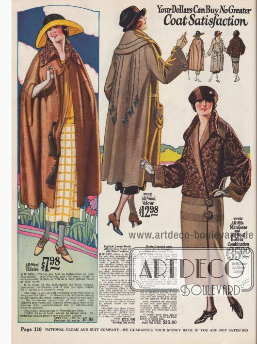Doppelseite mit Mänteln und einem Umhang für Damen aus Woll-Polaire, Woll-Velours und Woll-Bolivia. Der weite Schnitt und die überlappenden Kragen der letzten Jahre sind immer noch modern.