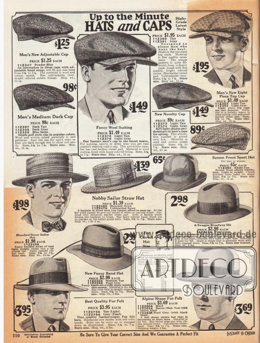 """Mützen, Schiebermützen, Sporthüte, Freizeithüte und elegante Straßenhüte für den modebewussten Herrn. Die Schiebermützen oben sind aus Woll-Baumwoll-Mischgeweben oder Kaschmir. Die kantigen Panama-Strohhüte mit Ripsband und Schleife wurden im deutsch Sprachraum oft auch """"Kreissäge"""" genannt. Links daneben ist ein Sporthut mit luftdurchlässiger Gitterfront für 65 Cent. Unten befinden sich Herrenhüte aus Filz mit breiten Ripsbändern (Homburg und Fedora Hüte). Ein Modell wird als """"Swagger Broadway Hit"""" bezeichnet."""