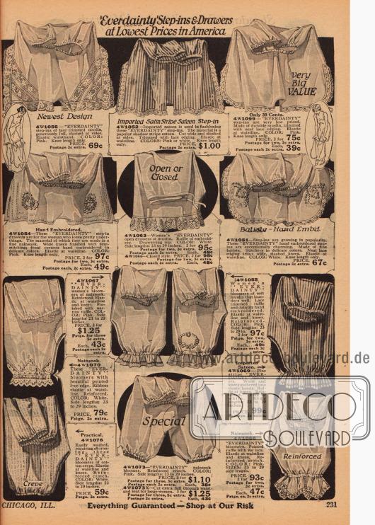 """Sogenannte """"step-in-drawers"""" (dt. Schlupfhöschen) der Marke """"Everdainty"""" für Frauen aus Satin, Musselin, Nainsook (leichter Musselin), Batist und Baumwoll-Krepp mit teils reicher Spitze und Stickereien oder Rüschen. Viele der Höschen haben eingenähte Gummibändchen an der Taille und Beinen."""