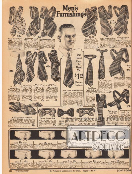 """""""Herrenausstattung"""" (engl. """"Men's Furnishings"""").Bunt gemusterte Krawatten, Schlipps und sportliche Fliegen aus Faille Krepp, Seide und Satin. Zwei der Krawatten sind gestrickt. Besonders diagonale Muster oder auch """"Polka Punkte"""" (engl. """"polka dots"""") sind beliebt.Im unteren Seitenbereich befinden sich weiche, mittelweiche und gestärkte Kragen zum Wechseln. Die Kragen sind aus Kanevas, gummiertem Leinen und anderen nicht näher definierten Geweben."""