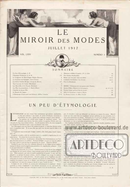 Inhaltsverzeichnis der Juli Ausgabe der Zeitschrift Le Miroir des Modes von 1917. Artikel: B., G., Un peu d'Étymologie.