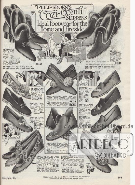 """""""Philipsborns 'Behaglich-Gemütlich' Pantoffeln. Ideale Schuhe für Haus und Kaminzimmer"""" (engl. """"Philipsborn's 'Cozi-Comfi' Slippers. Ideal Footwear for the Home and Fireside""""). Bunte Filzpantoffeln, Hausschuhe und Puschen für die ganze Familie. Die Hausschuhe und """"boudoir slippers"""" sind aus Filz hergestellt und besitzen Sohlen aus Leder oder Gummi. Einige Modelle sind mit Pelzröllchen oder Pompons aus Webpelz aufgemacht. Die Pantoffeln für Kinder und Männer sind teilweise mit Stickereien und Motiven versehen."""