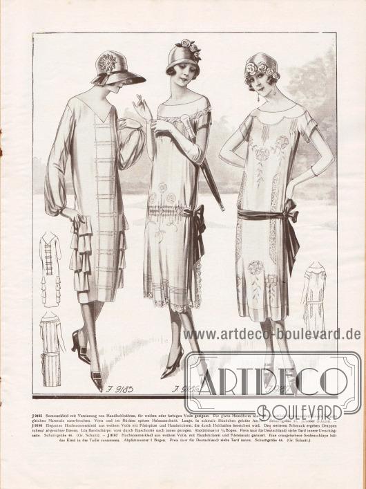 9185: Sommerkleid mit Verzierung von Handhohlnähten, für weißen oder farbigen Voile geeignet. Die glatte Hemdform wird durch seitlich übereinanderfallende Volants gleichen Materials unterbrochen. Vorn und im Rücken spitzer Halsausschnitt. Lange, in schmale Bündchen gefaßte Ärmel.9186: Elegantes Hochsommerkleid aus weißem Voile mit Filetspitze und Handstickerei, die durch Hohlnähte bereichert wird. Den weiteren Schmuck ergeben Gruppen schmal abgenähter Biesen. Lila Bandschärpe, vorn durch Einschnitte nach innen gezogen.9187: Hochsommerkleid aus weißem Voile, mit Handstickerei und Fileteinsatz garniert. Eine orangefarbene Seidenschärpe hält das Kleid in der Taille zusammen.