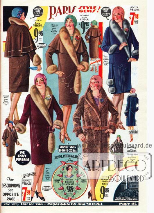 """Wintermäntel für Damen aus Veloursleder, Velours und Wolle. Unten rechts befindet sich ein Mantel aus """"Wombat Fur-like Fabric"""", also aus einem Pelz ähnlich verarbeiteten Stoff. Die beiden Modelle links oben zeigen Schultercapes. Auch Paspeln und Ziernähte verschönern jeden Mantel. Zur Pelzverbrämung dient gefärbtes, chinesisches Schafsfell. Unten mittig befindet sich eine Strasskette (Modeschmuck) für 98 Cent."""