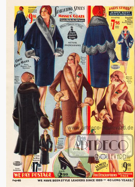 Fünf Wintermäntel für Damen aus Bolivia (Wollgewebe), Velours, Woll-Breitgewebe und Veloursleder. Für alle Mäntel wurde unterschiedlich verarbeitetes Fell des chinesischen Schafs verwendet. Die oberen beiden Modelle zeigen ausladende Schultercapes. Dagegen präsentieren die beiden Modelle links und rechts unten die neue im Herbst 1929 glockig ausfallende Saumweite. Ganz unten in der Mitte wird zudem ein Paar Damenschuhe aus Lackleder angeboten.