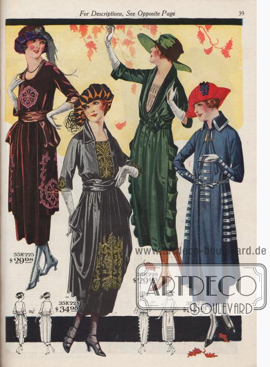 Elegante Straßenkleider aus Samt und Satin mit reichen Seidenstickereien.