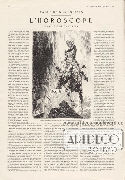 "Artikel: Valentin, Hélène, L'Horoscope (Pages de nos Enfants). Die Zeichnung besitzt die Bildunterschrift ""Rosemiel, plein d'enthousiasme, s'en va à la recherche des fabuleuses richesses"". Illustration/Zeichnung: unbekannt."