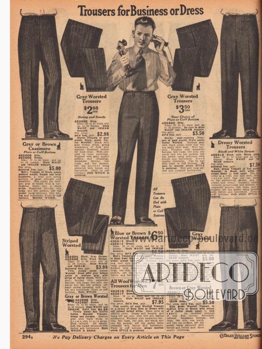 """""""Hosen für Geschäft und elegante Anlässe"""" (engl. """"Trousers for Business or Dress""""). Die hier gezeigten Anzughosen sind aus Kaschmirwolle und Baumwolle, Baumwoll-Kammgarn oder Woll-Kammgarn. Streifenmuster, Heringsmuster, diagonale Stoffverarbeitungen und feine Nadelstreifen sind die vorherrschenden Gewebeverarbeitungen. Hosen werden mit oder ohne Hosenaufschläge geliefert."""