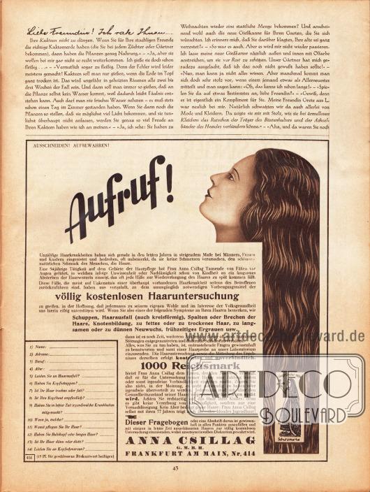 Artikel:Paula, Anna, Liebe Freundin! Ich rate Ihnen… .Werbung:Aufruf zur völlig kostenlosen Haaruntersuchung, Anna Csillag GmbH, Frankfurt am Main, Nr. 414.