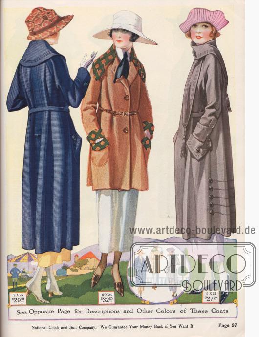 Damenmäntel mit groß gearbeiteten Taschen, Ärmeln und Kragen aus Woll-Poplin, Woll-Polo Stoff und Woll-Velours.