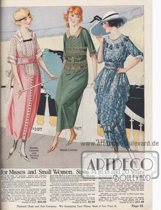 Bast-Leinen und gepunkteter Swissstoff sind die Materialien des ersten Kleides für die junge Dame. Die beiden anderen Kleider sind aus Bast-Leinen und bedrucktem Voilestoff. Einfache Sommerkleider für 8,98 $ bis 13,49.