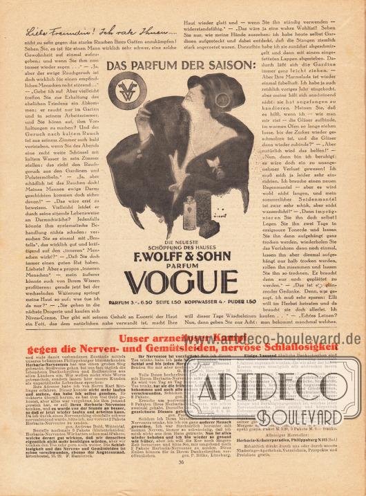 Artikel: O. V., Liebe Freundin! Ich rate Ihnen... . Werbung: Vogue Parfum, F. Wolff & Sohn, Illustration: Jupp Wiertz (1888-1939); Herbarin-Nerventees, Herbaria-Kräuterparadies, Philippsburg N 315.