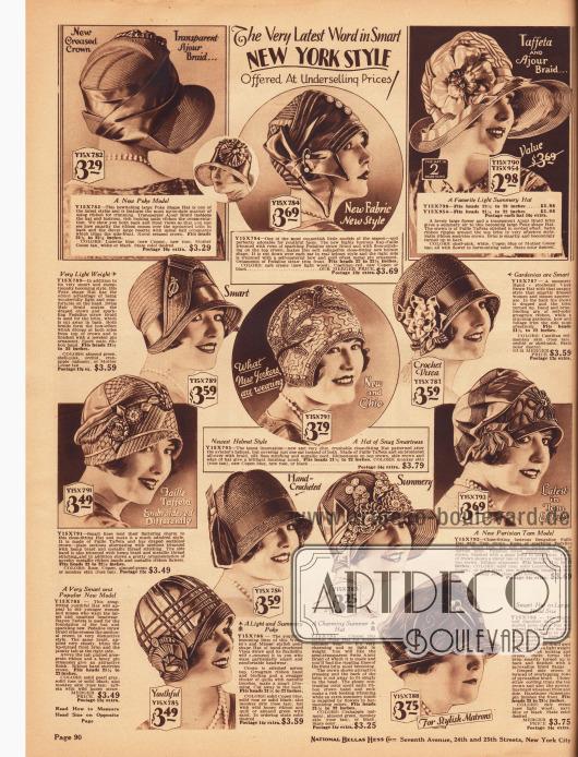 """Zwei Damenhüte mit breiter Krempe und zehn Hüte mit sehr kurzer oder ohne Hutkrempe. Das Modell oben links mit breiter Krempe ist im Schutenstil gearbeitet, während andere Modelle eher den helmartigen Fliegermützen nacheifern (Mitte) oder die Form von Schottenmützen (Tam-O-Shanter) interpretieren. Die Hüte selbst sind aus """"Ajour"""" Geflecht, glänzendem Rayon-Faille, Taft, """"Swiss Hair braid"""" und leicht schimmerndem """"Pedaline straw Braid"""" (Strohgeflecht), Faille-Taft, """"Visca"""" Stroh, Bengaline-Faille sowie Satin und """"Pyroxaline"""" Geflecht (Kunstfaser). Ripsbänder, Stickereien, Schleifen, strassbesetzte Hutnadeln und Stoffblumen zieren die Kreationen. Unten rechts ein Modell speziell für Matronen (ältere Damen)."""