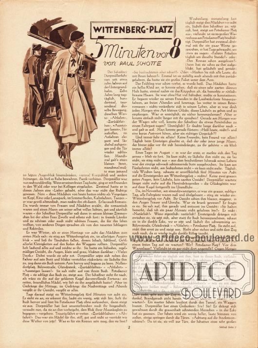Artikel:Schotte, Paul, Wittenberg-Platz 5 Minuten vor 8.Zeichnung: Kretschmann.