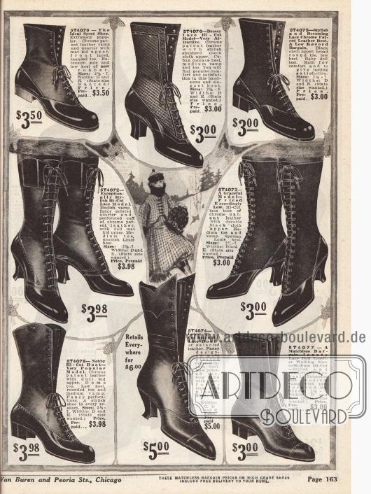 Hohe und mittelhochgeschlossene Stiefeletten zum Schnüren für Damen aus glänzendem Lackleder, Ledersorten mit stumpfer Oberfläche und Chevreauleder. Die Stiefeletten mit niedrigen Absätzen und den abgerundeten Kappen sind eher für sportliche Aktivitäten oder längere Fußmärsche konzipiert, während die Schuhe mit den geschwungenen, hohen Louis XIV Absätzen eher für elegante Anlässe gedacht sind.