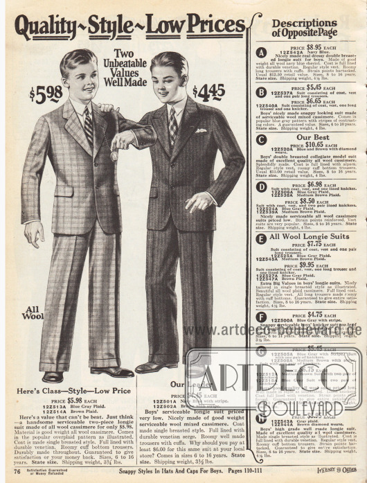 Zwei einreihige Anzüge mit langen Hosen für Jungen im Alter zwischen 6 und 16 Jahren. Die Anzüge sind aus blaugrau kariertem Woll-Kaschmir und braun-gestreiftem Woll-Kaschmir-Mischgewebe. Die Taschen sind in die Sakkos eingearbeitet. Während das erste Sakko fallende Revers zeigt, präsentiert das zweite eine steigende Fasson.