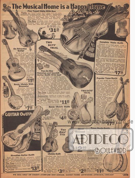 """""""Das musikalische Heim ist ein glückliches Heim"""" (engl. """"The Musical Home is a Happy Home""""). Musikinstrumente für zu Hause wie Violinen, hawaiianische und spanische Gitarren, Ukulelen und Banjos. Die Gitarren sind teilweise mit Malereien versehen."""