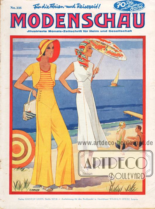 Titelseite der deutschen Illustrierten Modenschau Nr. 235 vom Juli 1932.5597: Fescher Strandanzug. Beinkleid und Bolero aus gelbem Leinen, über einem passenden gestreiften Badeanzug zu tragen.5598: Strandkleid aus weißer Honanseide mit Schnitteilungen, die einen Bolero vortäuschen.