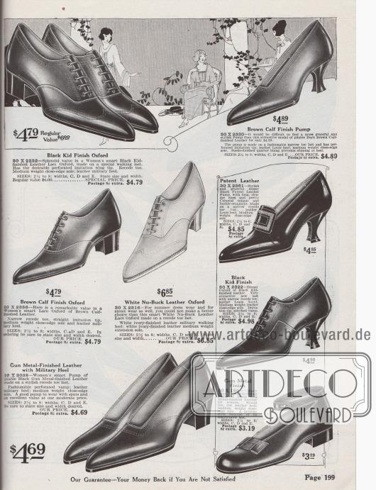 """Oxfords, Pumps, Sport-Oxfords zum Schnüren, Kolonialpumps mit Zierschnalle auf der Zunge bzw. Lasche sowie ein """"Mary Jane"""" Pump mit Knöchelschnalle. Die Damenschuhe sind aus Chevreauleder (Ziegenleder), Kalbsleder, Nubuk Leder (sommerlich leichtes Rauleder), Lackleder oder silbermetallisch gefärbtem Leder. Spitze Schuhkappen sind 1920 in der Schuhmode modern. Die Modelle präsentieren Militärabsätze, geschwungene Louis XIV Absätze oder flache Laufabsätze."""
