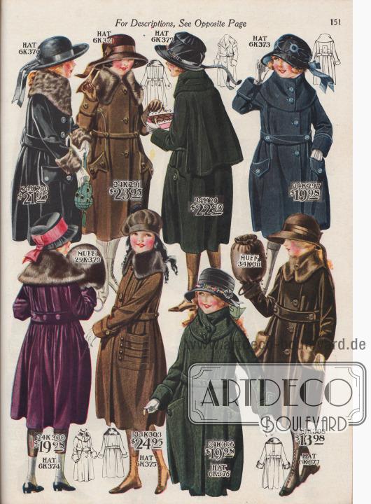 """Wintermäntel zu Preisen von 13,98 bis 23,95 Dollar für 8 bis 14-jährige Mädchen sowie günstige Mädchenhüte, wie Matrosenhüte, Biberpelzhüte, Samthüte, Schuten und Schottenmützen sowie ein Muff aus schwarzem Kaninchenfell. Die Mäntel in weitem Schnitt sind aus merzerisiertem ägyptischem Plüsch, Woll-Velours, Woll-Polo-Zibeline, Woll-Gewebe mit eingewebten Silberfäden und Woll-Pologewebe. Die Pelzverbrämungen sind aus Eichhörnchen-, Biber- oder Biberratten-Webpelzen (Biberratte, engl. Nutria, """"Nutria De Laine"""") sowie echtem Kaninchen."""