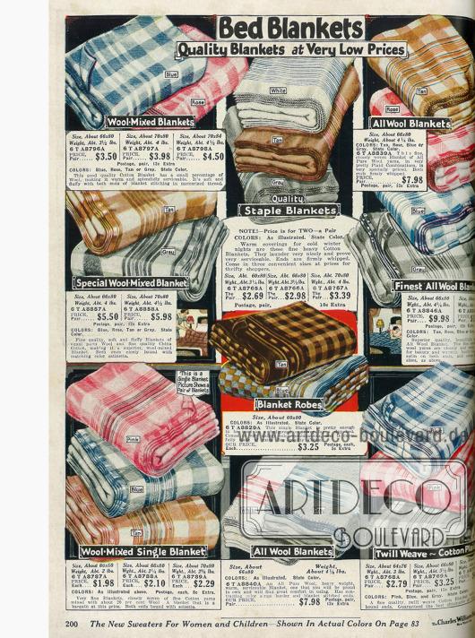 Bettdecken aus Baumwolle und Wolle.