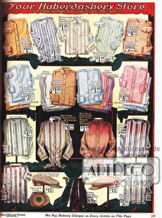 Anzughemden für Männer mit einem Verschlussband auf dem ein Kragen angeknöpft werden kann. Unten im Bild werden Schiebermützen und Krawatten gezeigt.