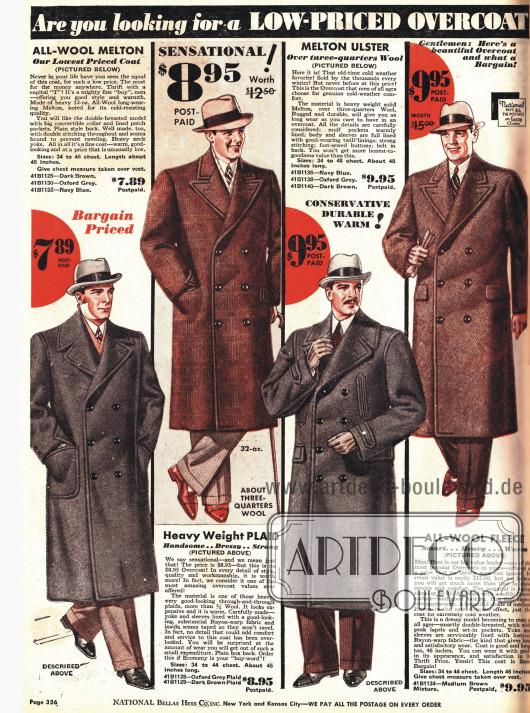 Zweireihige Herrenmäntel aus dickem Baumwollstoffen.