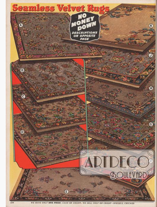 10 Webteppiche aus Samt mit leichteren und komplexeren asiatischen Musterungen, Maße von 6 x 9 bis 9 x 12 ft (183 x 234 bis 234 x 366 cm).